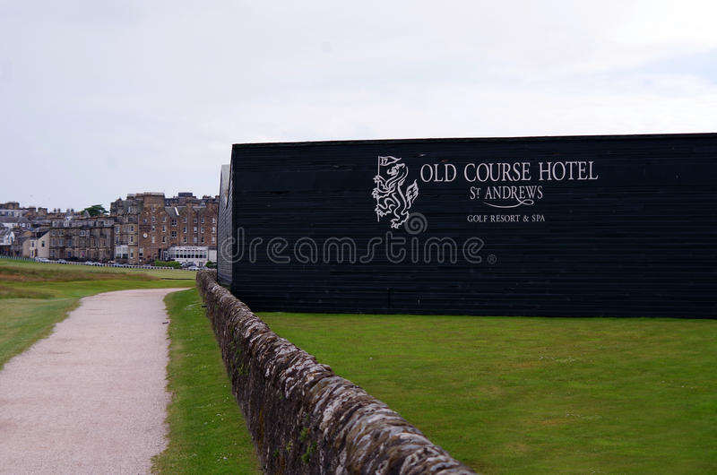 View from the 17th Tee Box at the Old Course. View of the famous wall of the Old Course Hotel from the seventeenth tee box of the Old Course in St. Andrews royalty free stock photo
