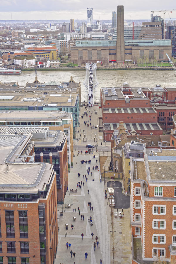 View of the Thames, Millenium Bridge, Tate Modern royalty free stock images