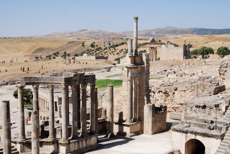 Theatre, Dougga Roman City, Tunisia royalty free stock photos