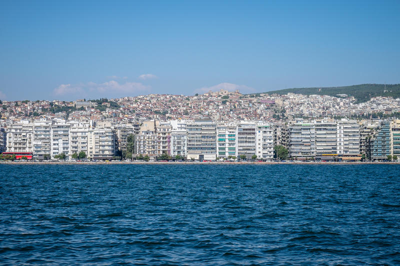 View of Thessaloniki Greece from the sea. stock photography