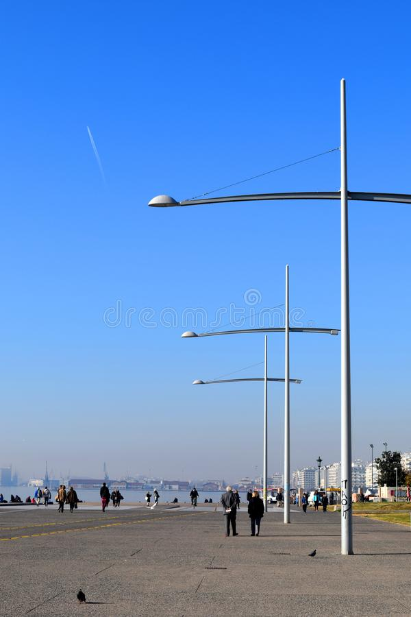 Thessaloniki, Greece - December 28 2015: Thessaloniki promenade and waterfront, vertical. royalty free stock photography