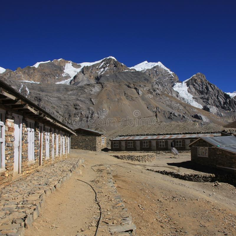 View from Thorung La high camp. High mountains of the Annapurna range. Thorung La high camp, Nepal royalty free stock photos