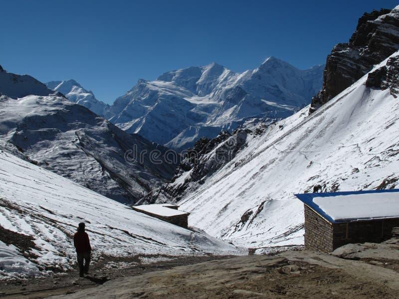 View from Thorung Phedi High Camp. Annapurna Range royalty free stock photos