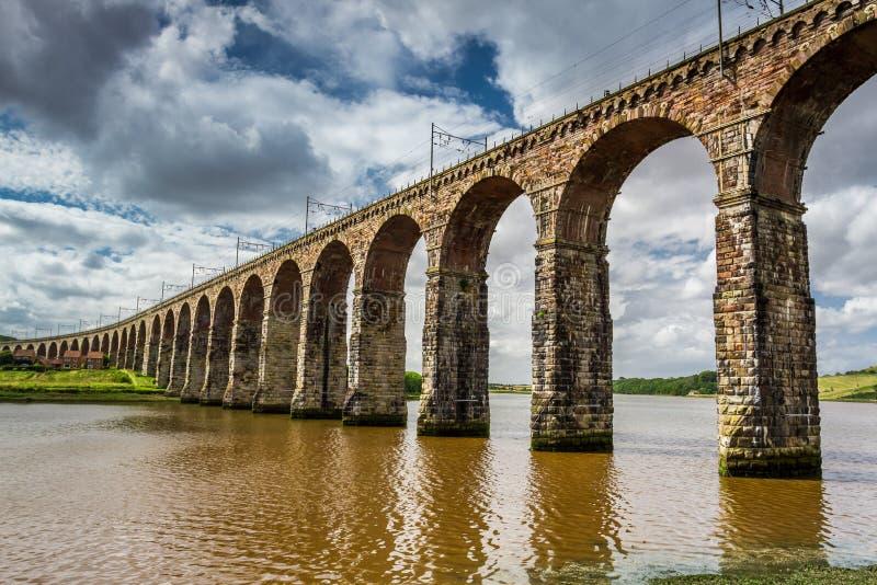 View of the three bridges in Berwick-upon-Tweed stock photography