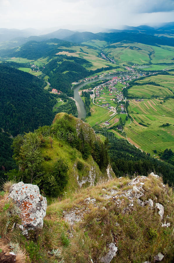 View from Three Crowns. Hill (polish: Trzy Korony) in south Poland. River Dunajec as a national border with Slovakia (Slovak republic royalty free stock photo