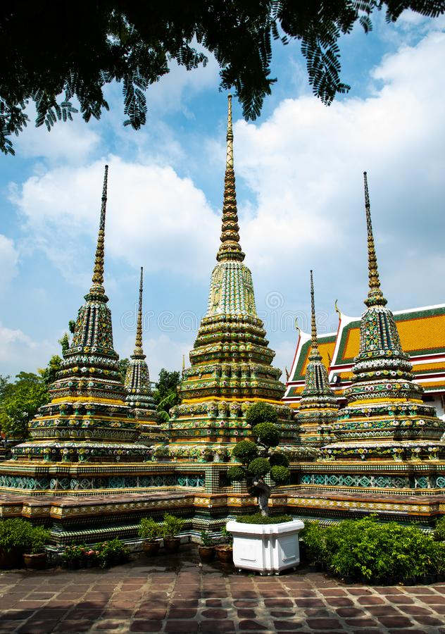 View of three pagodas from the Emerald Buddha temple in Bangkok. With copy space stock image