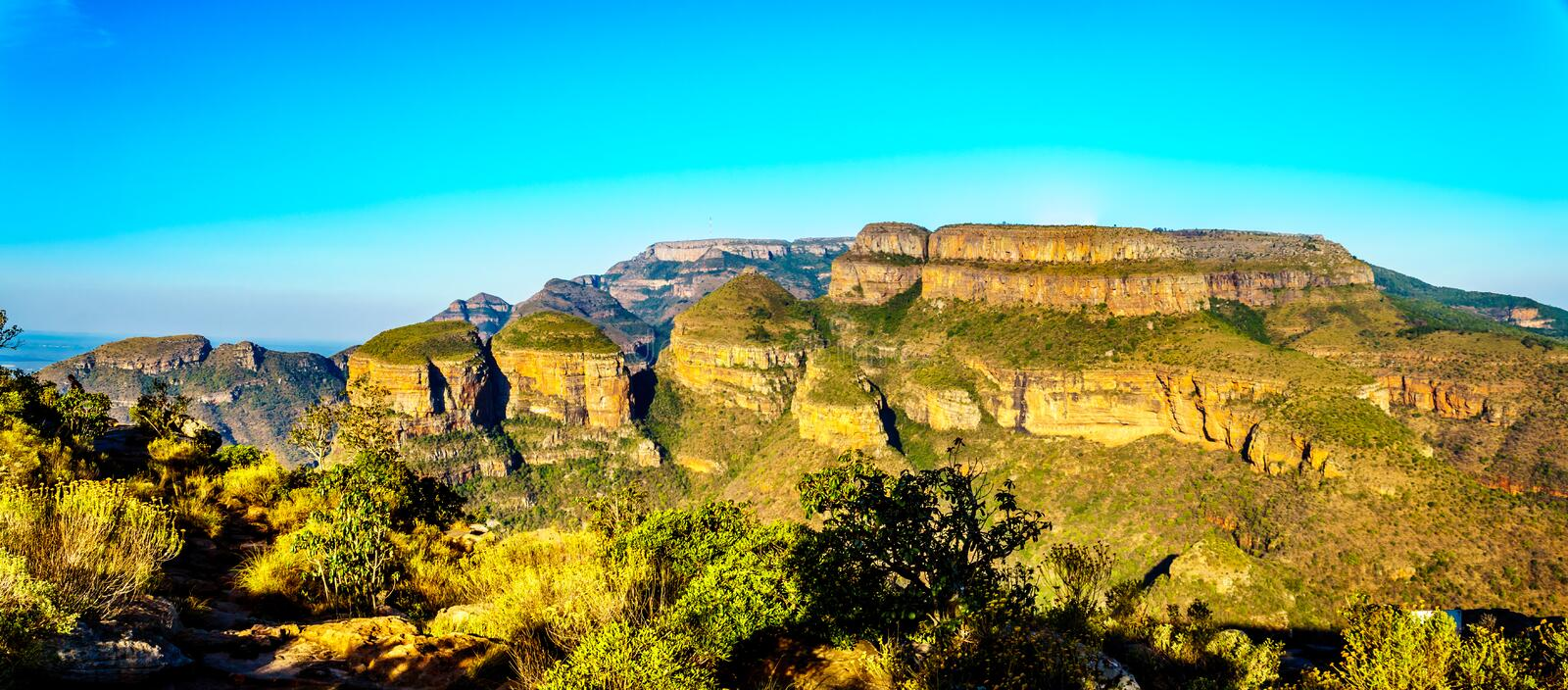 View of the Three Rondavels at the Blyde River Canyon viewpoint on the Panorama Route stock photography