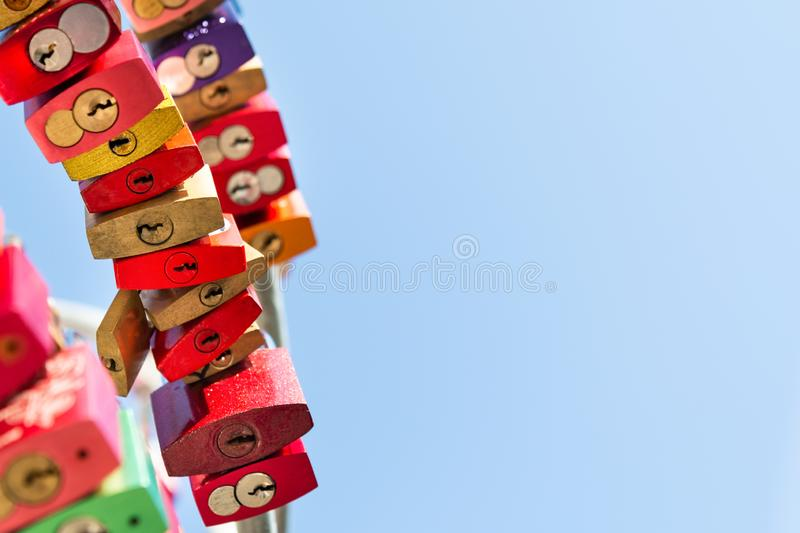 View of the three rows of hanging locks on the crossbar stock photography