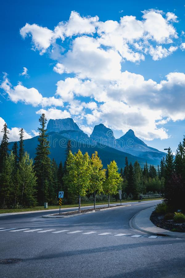 View of Three Sisters Mountain, well known landmark in Canmore, Canada royalty free stock photos