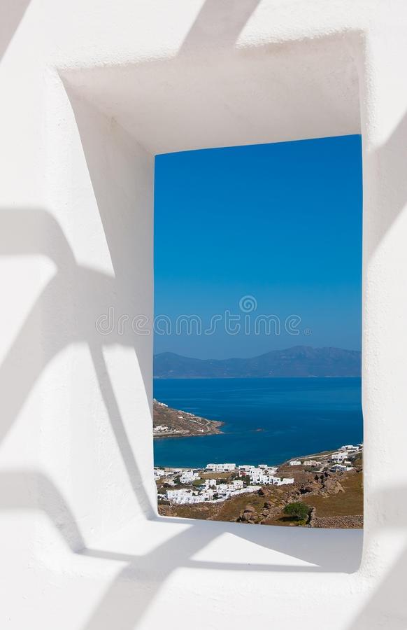 Free View Through A White Wall Window To The Sea And Coast Royalty Free Stock Images - 40163659