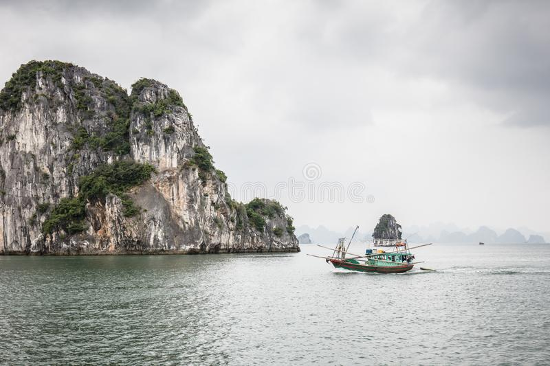 Stormy Ha Long Bay Vietnam royalty free stock images