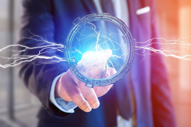 Thunder lighting bolt in a science fiction wheel interface - 3d stock image
