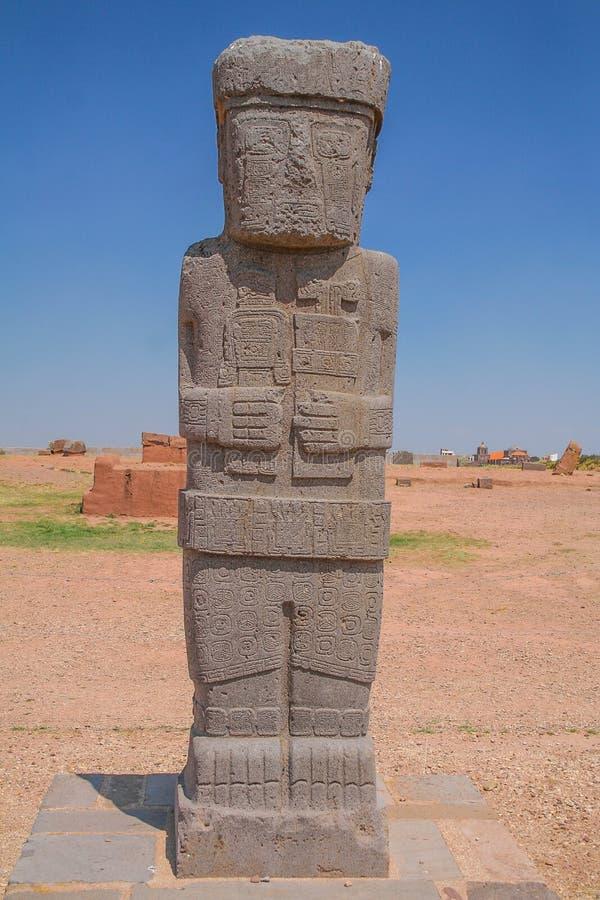 View of the Tiahuanaco / Pre Columbian historical ruins royalty free stock photos