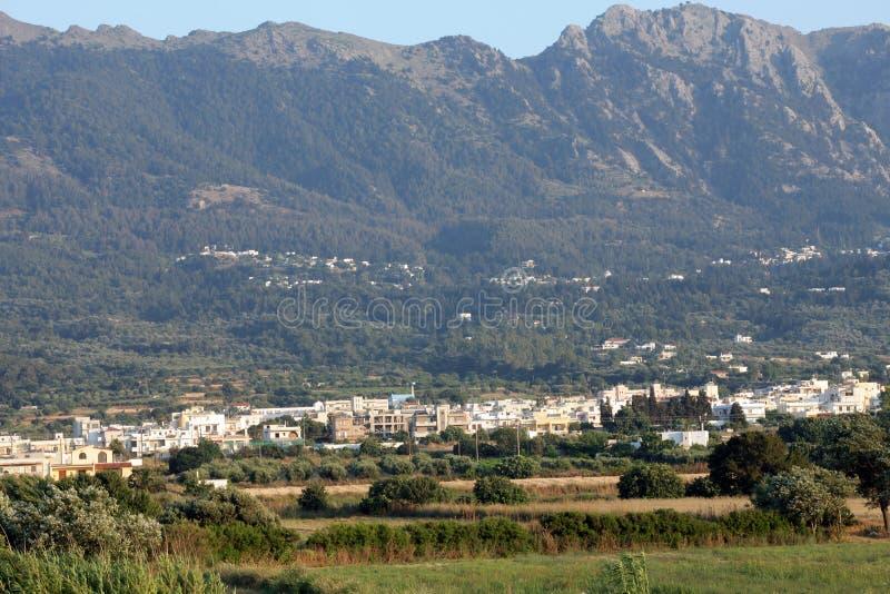 View from Tigaki on the Zia village. Kos island royalty free stock photos