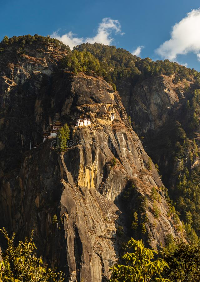 View of Tiger`s Nest Monastery on the mountain, Bhutan stock images