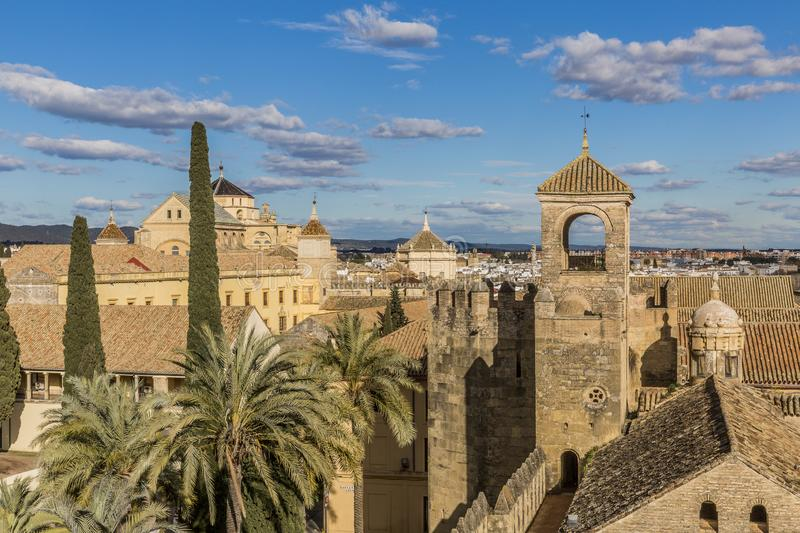 View of the tile roofs in the city of Cordoba Spain. View of the tile roofs in the city of Cordoba seen from a tower of the Alcazar de los Reyes Cristianos stock images