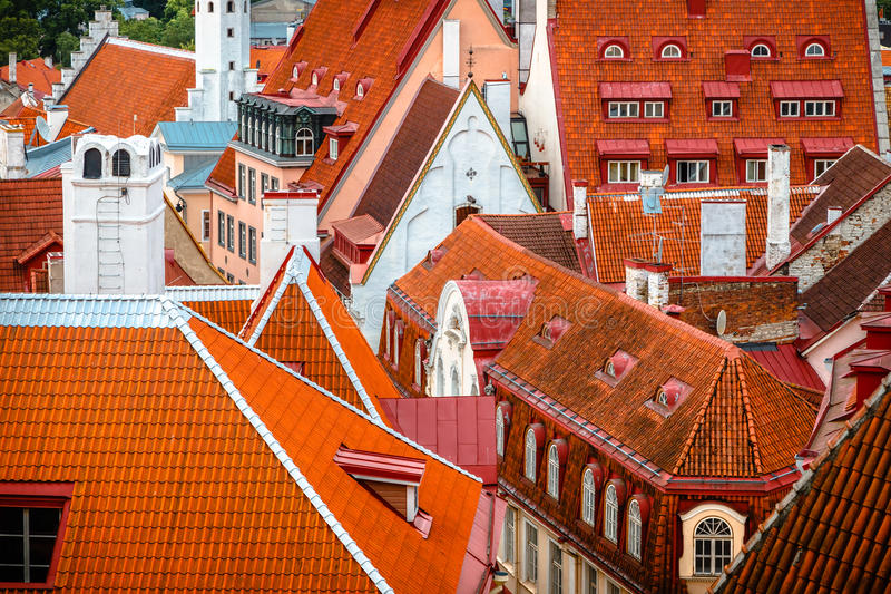 The view of the tiled roofs of Old Tallinn,Estonia royalty free stock photography