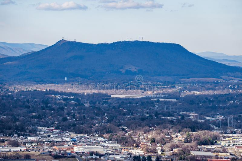 A View of Tinker Mountain. Elevation 2,278 ft. from Mill Mountain Overlook located in Roanoke County, Virginia, USA royalty free stock photos