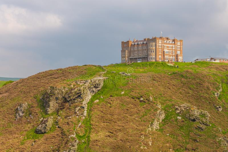 View of Tintagel Island and legendary Tintagel castle. stock photo