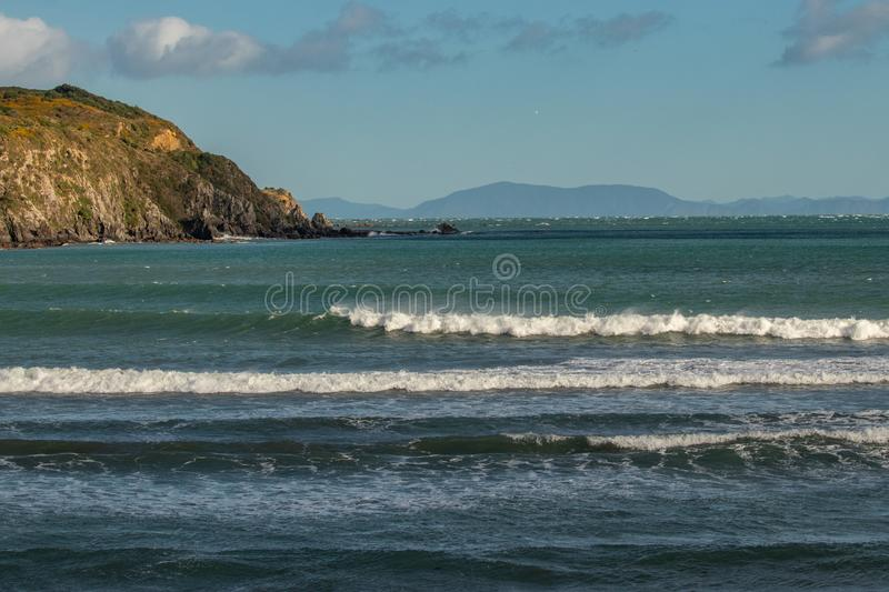 View from Titahi Bay to Marlborough Sounds across ocean royalty free stock images