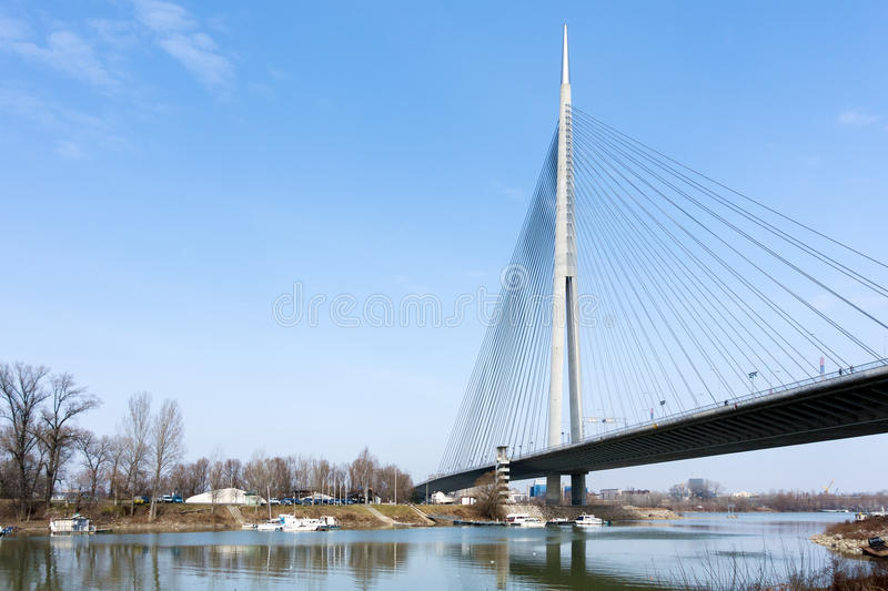 View to the Ada bridge on the river Sava in Belgrade, Serbia. View to the Ada bridge on the river Sava in Belgrade stock image