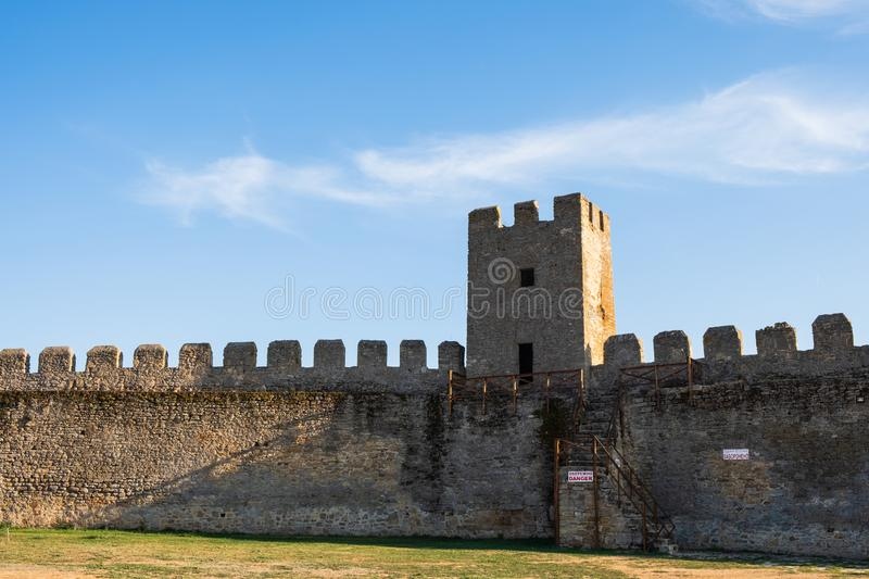 View to Akkerman fortress which is on the bank of the Dniester estuary, in Odessa region. Bilhorod-Dnistrovskyi, Ukraine - AUGUST 15 2018: Beatutiful ancient stock image