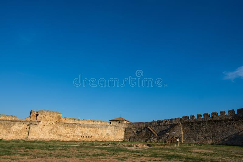 View to Akkerman fortress which is on the bank of the Dniester estuary, in Odessa region. Bilhorod-Dnistrovskyi, Ukraine - AUGUST 15 2018: Beatutiful ancient royalty free stock image
