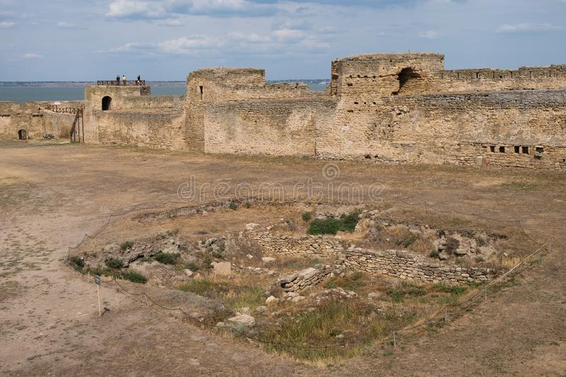 View to Akkerman fortress which is on the bank of the Dniester estuary, in Odessa region. Bilhorod-Dnistrovskyi, Ukraine - July 23 2019: Beatutiful ancient stock images