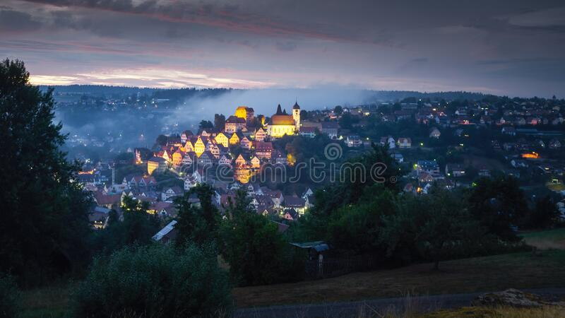 View to Altensteig Germany by night stock image