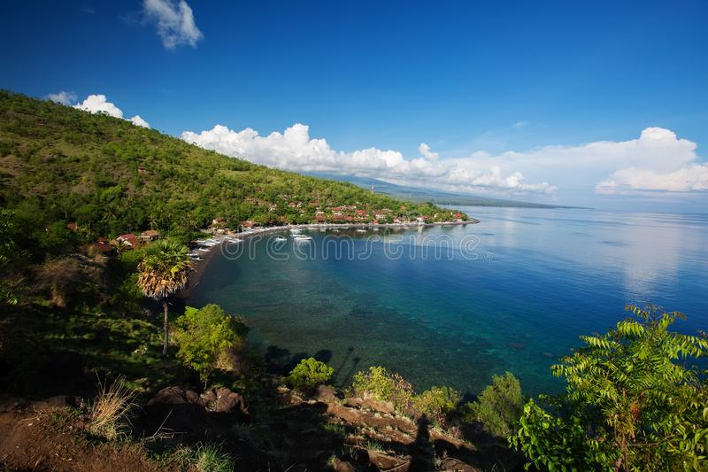 View to the Amed village on Bali island, Indonesia royalty free stock photography