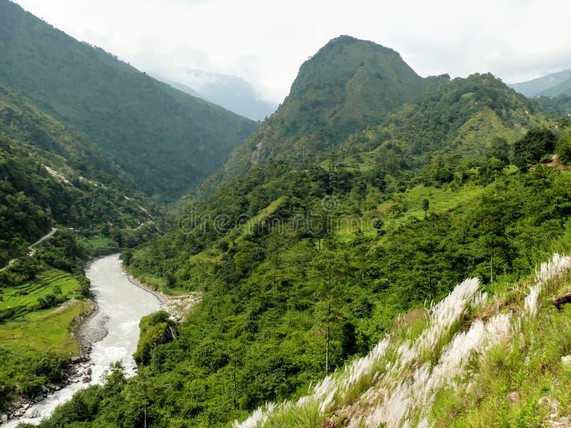 View to Bahundanda - Annapurna Circuit - Nepal stock images