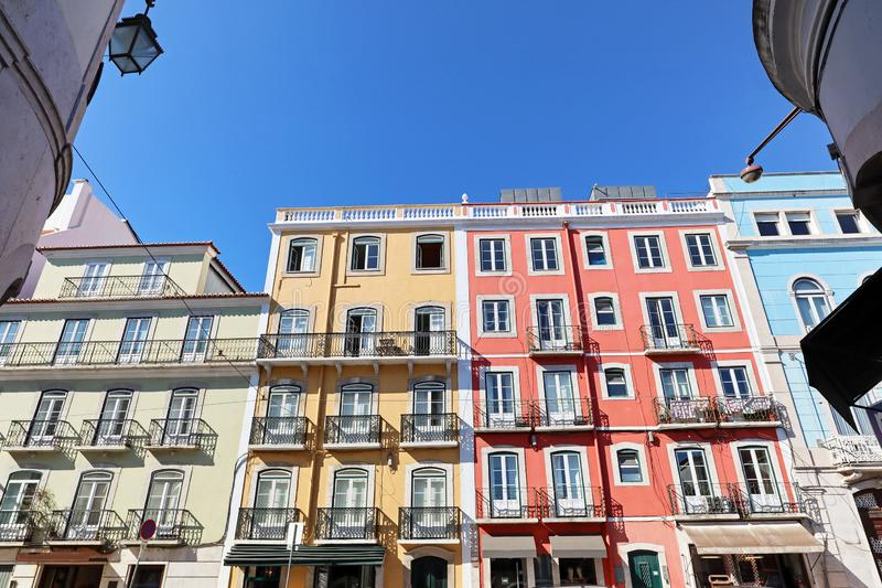 View to the Bairro Alto district in the historic center of Lisbon, traditional facades in the streets of the old town, Portugal royalty free stock photography
