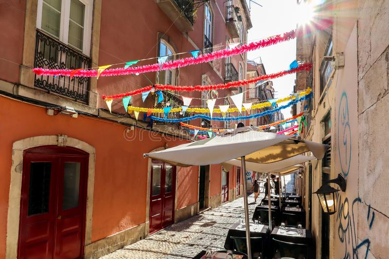 View to the Bairro Alto district in the historic center of Lisbon, traditional facades in the streets of the old town, Portugal royalty free stock image