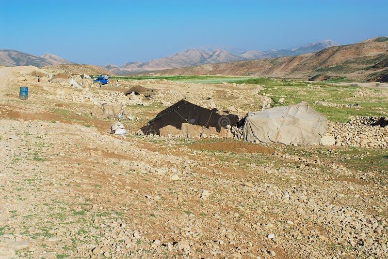View to the Bakhtiari nomadic people camp circa Isfahan, Iran. stock image