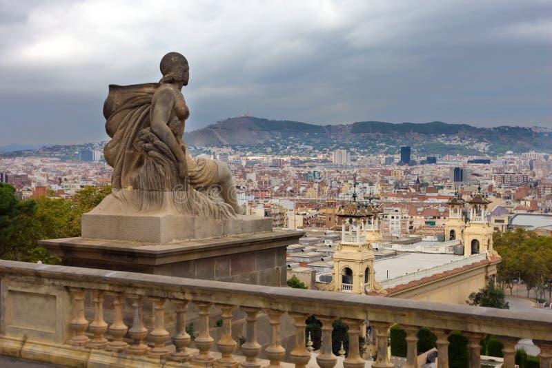 View to Barcelona. From Museu nacional d'Art de Catalunya stock photo
