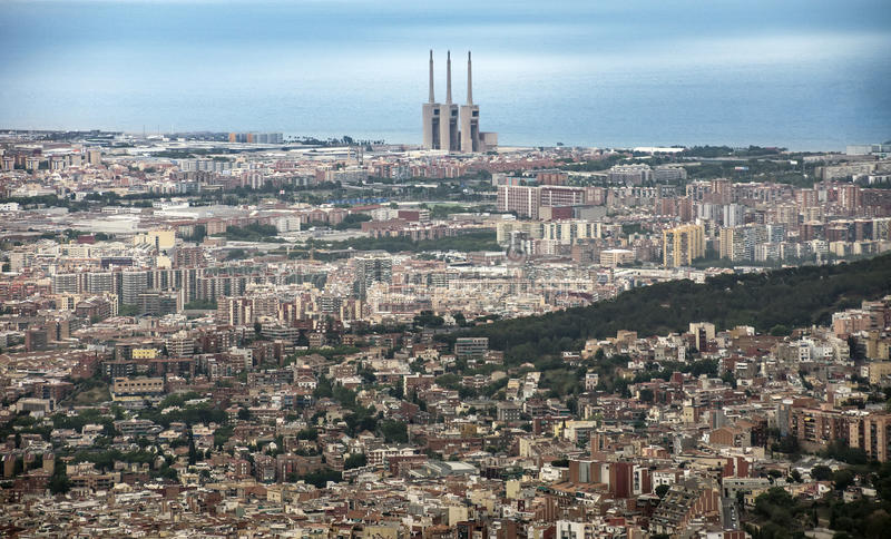 View to Barcelona from Tibidabo royalty free stock photos