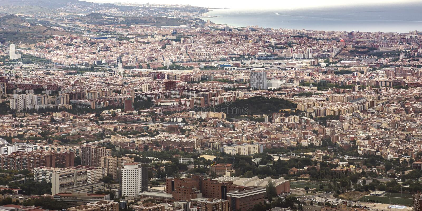 View to Barcelona from Tibidabo stock photography