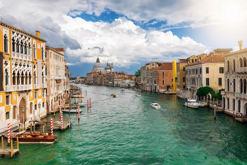 View to the Basilica di Santa Maria della Salute and Canale Grande in Venice royalty free stock photography