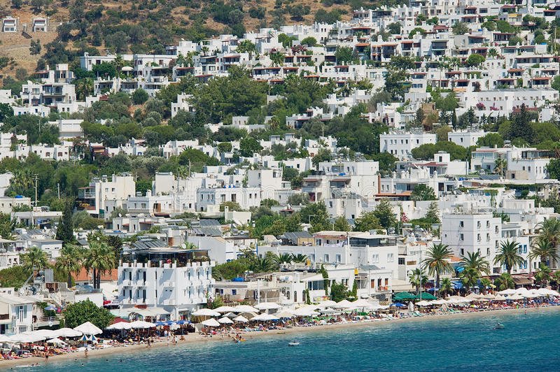 View to the beach and hotels of the resort town of Bodrum, Turkey. BODRUM, TURKEY - AUGUST 15, 2009: View to the beach and hotels of the resort town of Bodrum royalty free stock photos