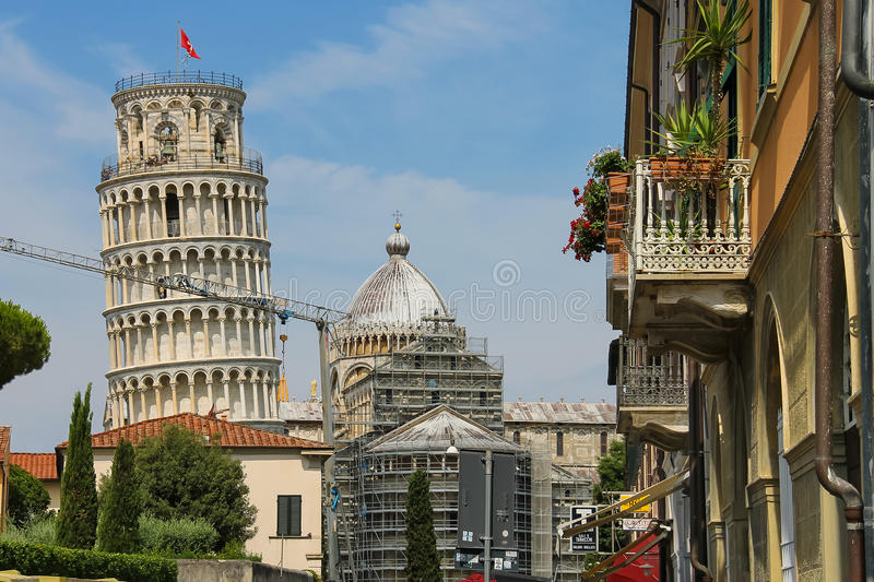 View to bell tower of the Cathedral (Leaning Tower of Pisa). Italy. Pisa, Italy - June 29, 2015: View to bell tower of the Cathedral (Leaning Tower of Pisa) stock images