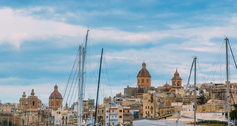 View to St. Lawrence`s and Annunciation churches. View to Birgu and St. Lawrence`s and Annunciation churches stock image