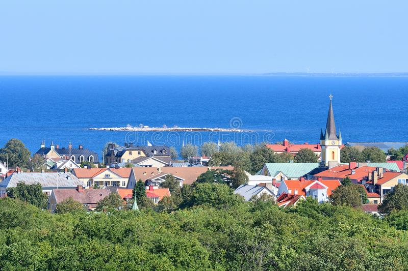 View to Borgholm city. In the Kalmar County stock image