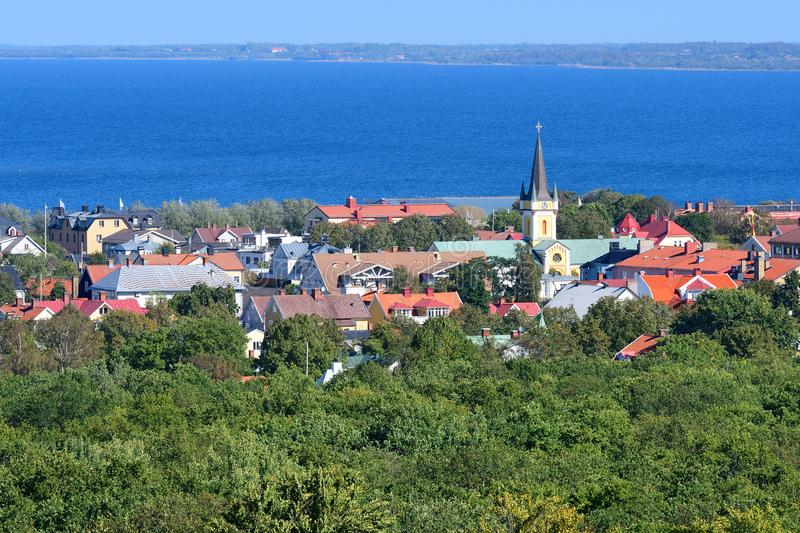 View to Borgholm city. In the Kalmar County stock photo