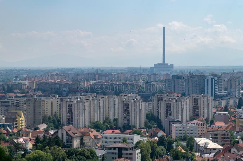 View to Brasov residential and industrial area from above in Brasov, Romania royalty free stock photo