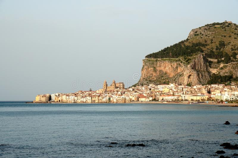 View to Cefalu in Sicily. Cefalu is one of the most beautiful cities in Sicily stock photography