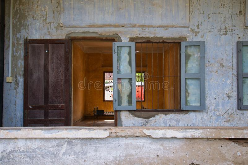 View to cell, S21 prison Cambodia royalty free stock photo