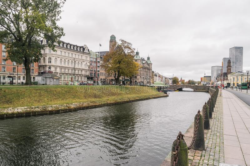 View to the Central Stationin area, Skeppsbron street, in Malmo, Sweden royalty free stock images