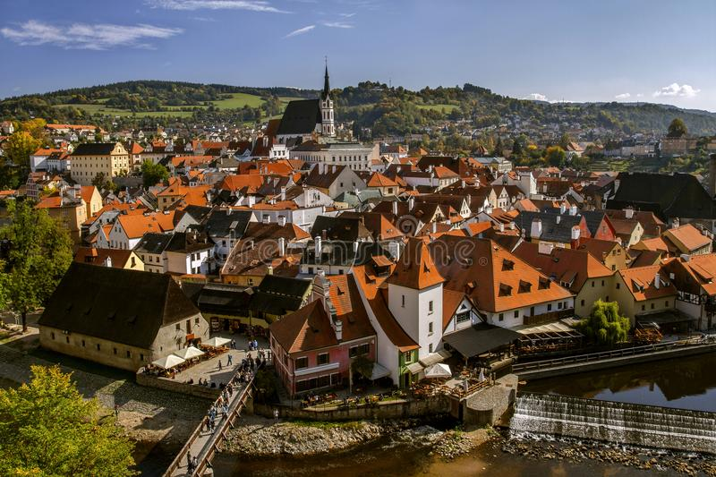 View to Cesky Krumlov and river Vltava, view of the city from the top. Czech Republic. Historical town. UNESCO World Heritage. stock image