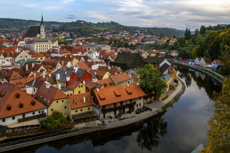 View to Cesky Krumlov and river Vltava, view of the city from the top in sunny day. Czech Republic. stock image