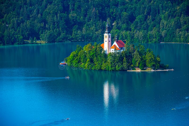 View to the Church on lake Bled island from the Bled castle. In Slovenia royalty free stock image